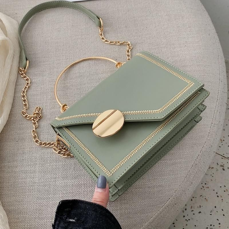Matcha green PU Leather chain design Crossbody Bags Women Small Chain Handbag small bag Hand Bag Ladies Designer Evening Bags – Burgundy 19cm x 15cm x