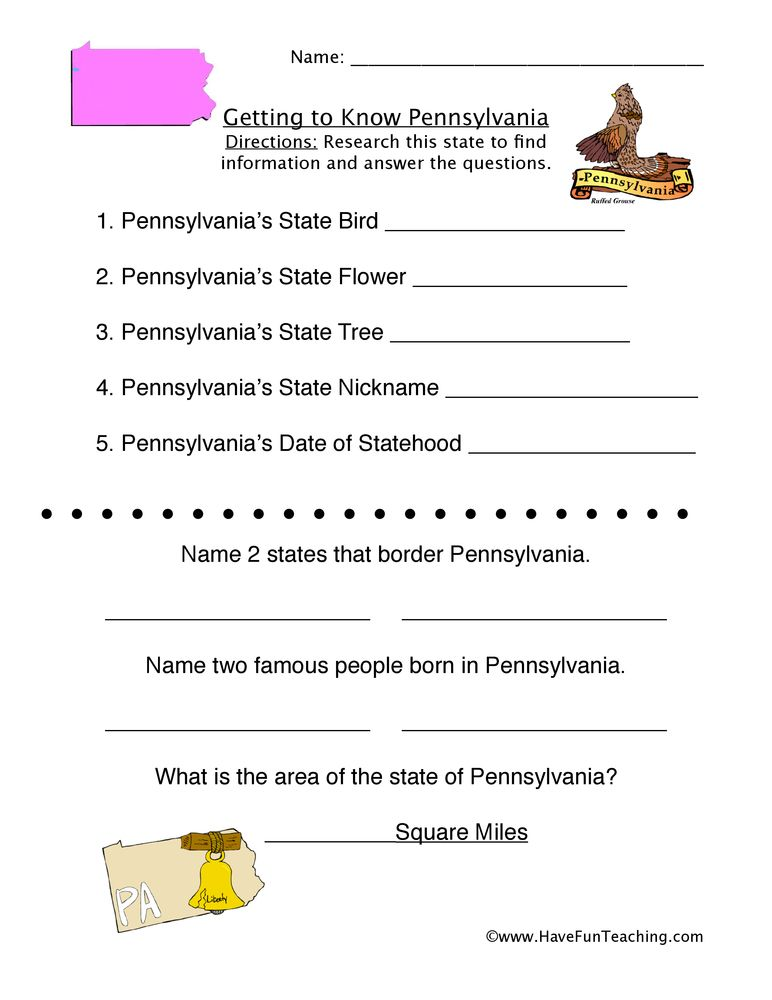 Pennsylvania Worksheet Social Studies Worksheets States Worksheets Have Fun Teaching 2nd grade history worksheets
