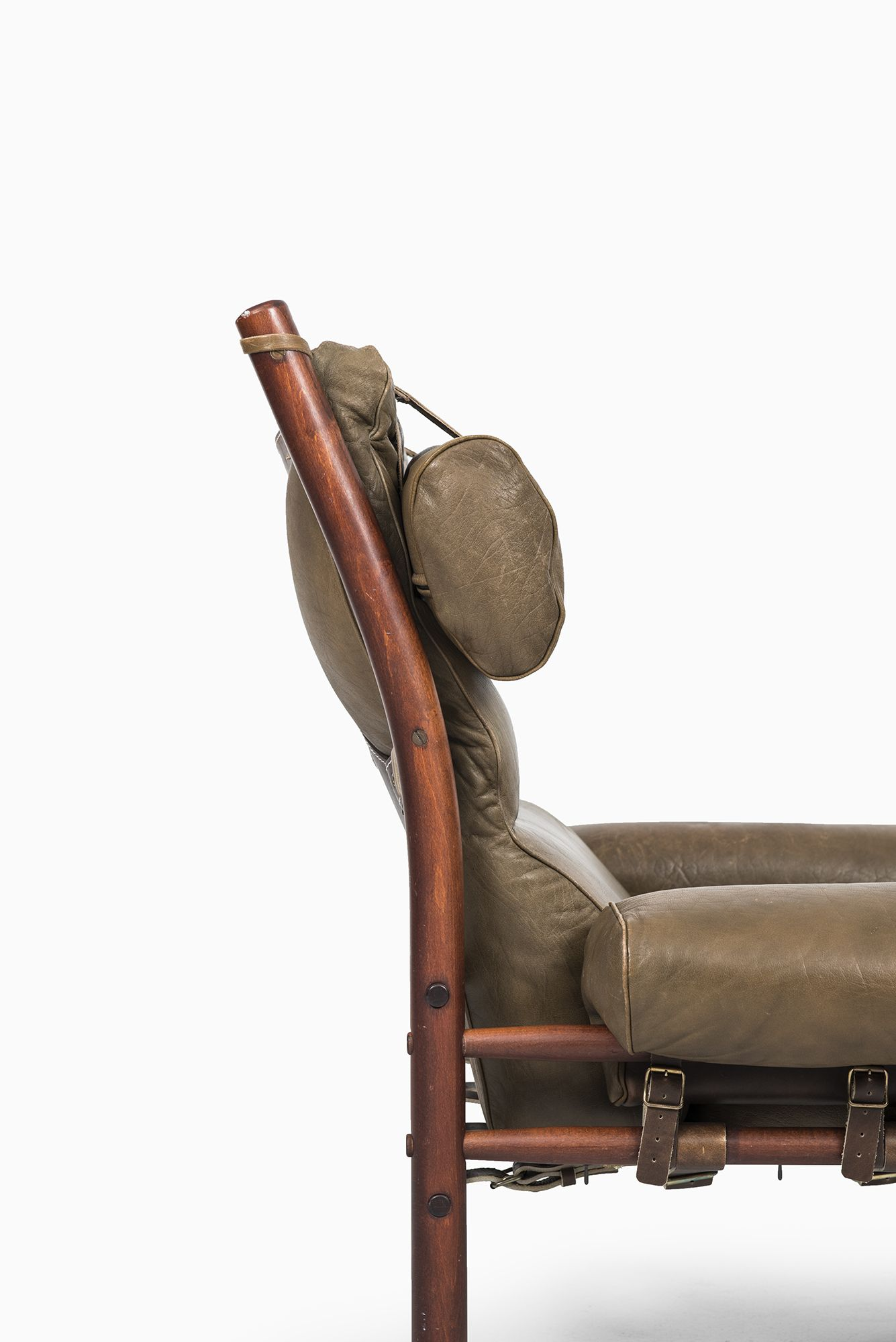 Arne Norell Inca easy chairs in green leather at Studio Schalling