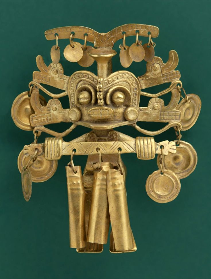 Calima Shaman with elaborate headdress | Cast, hammered and cut gold | 100 BC - 800 AD  |||  {GPA}