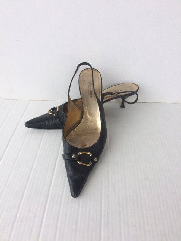 c1875fa1387a9 DOLCE and GABBANA vintage black leather sling back low kitten heel ...