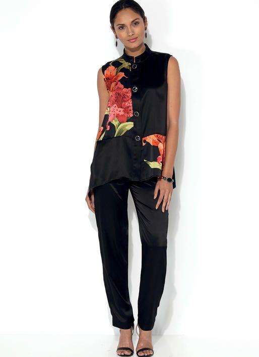 Kwik Sew pattern K4195. Misses\' Mandarin Collar Vest and Jacket, and ...