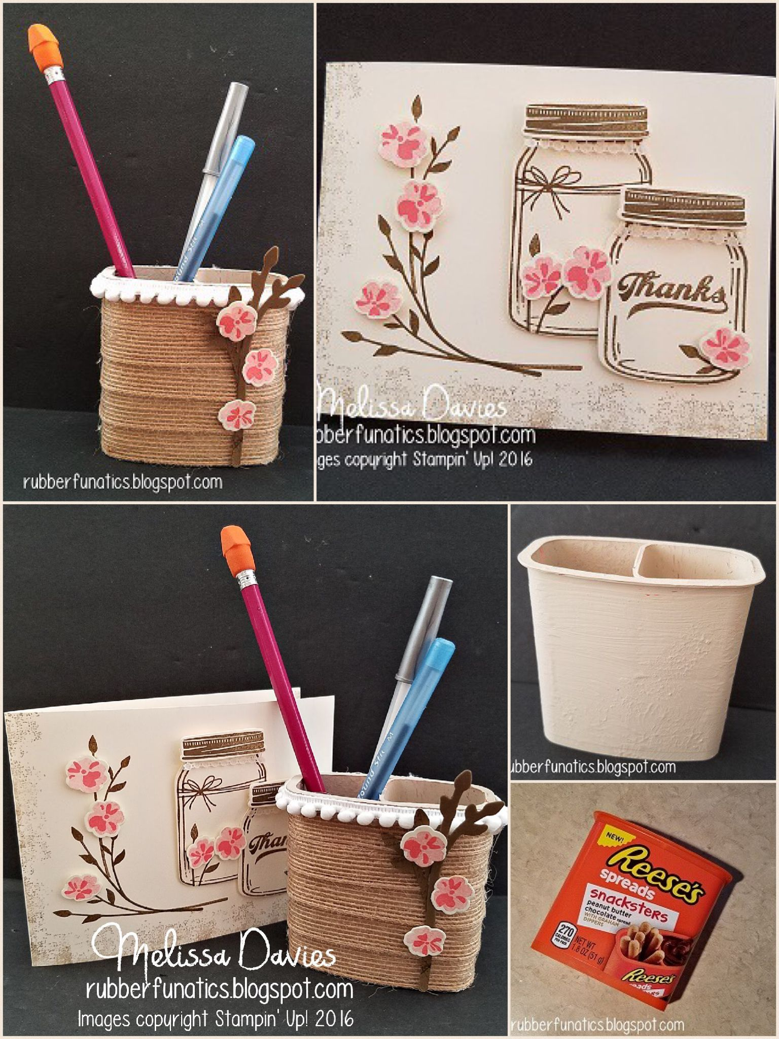 "Jar of Love burlap ribbon pencil cup, lace-trimmed mason jars | Stamps: Jar of Love, Timeless Textures; Ink: Soft Suede, Flirty Flamingo, Crumb Cake Paper: Very Vanilla, Soft Suede; Accessories: Whisper White Pom Pom trim, 5/8"" Burlap ribbon, Everyday Jars framelits, Very Vanilla 1/2"" Lace trim; Non-SU!pplies: Antique White acrylic paint, Snacksters container, hot glue gun 