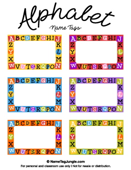 Alphabet Name Tags Tag Templates