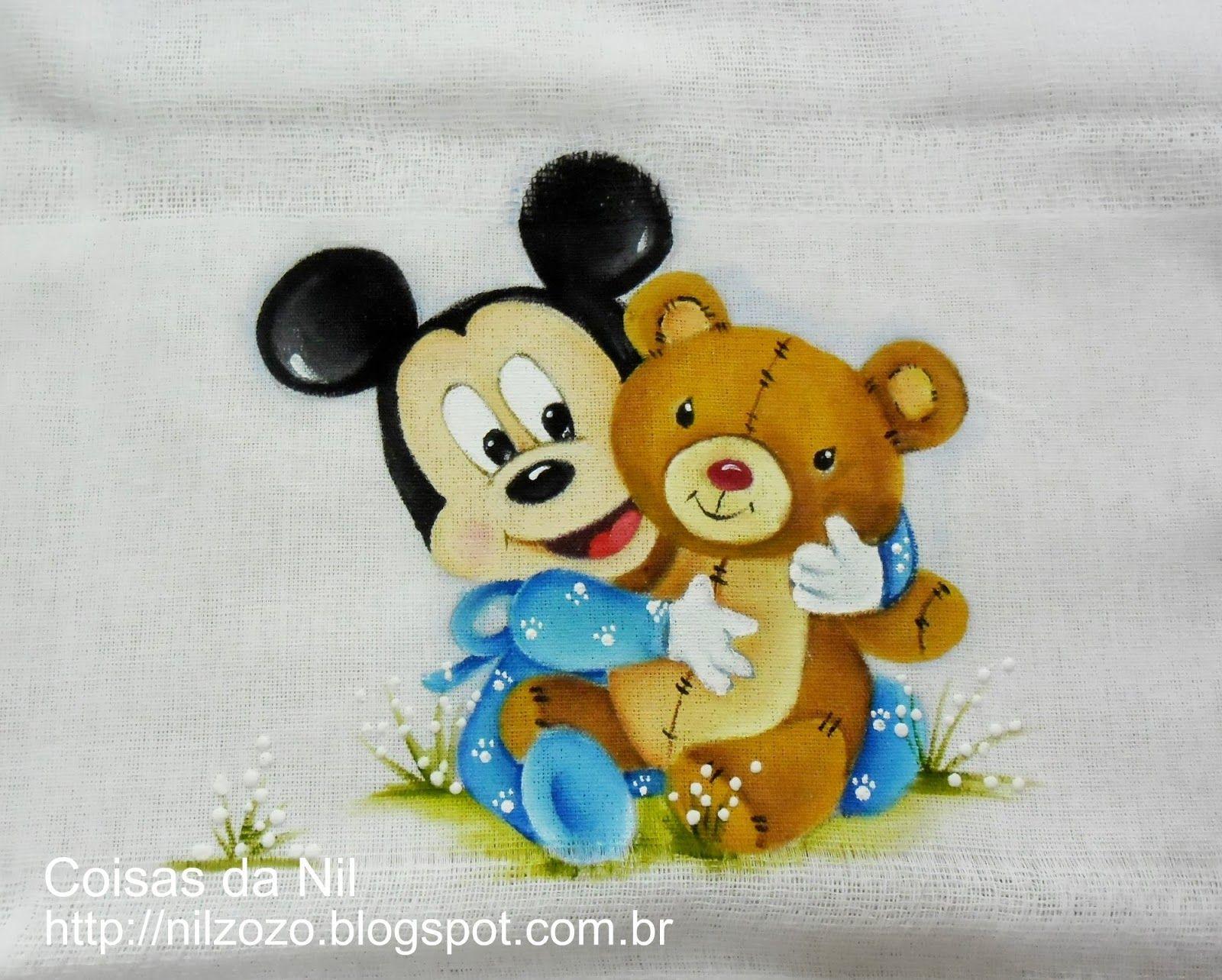 Desenhos Da Minnie Para Pintar Em Tecido: Pintura Em Tecido: Mickey Baby E Seu