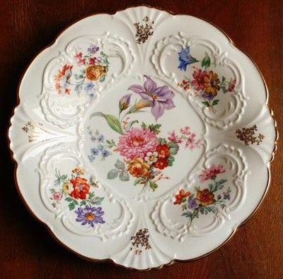 Patera Bavaria Weimar Krimhilde Kwiaty Reliefy Vintage Porcelain Porcelain Ceramics Porcelain Painting