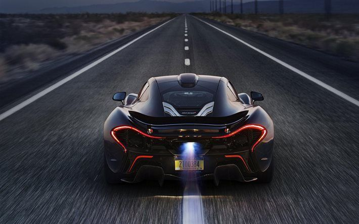 McLaren P1, Supercar, Hypercar, Rear View, Road, Speed, Fire,
