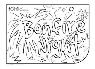 Guy Fawkes Bonfire Night Colouring in picture Party Themes