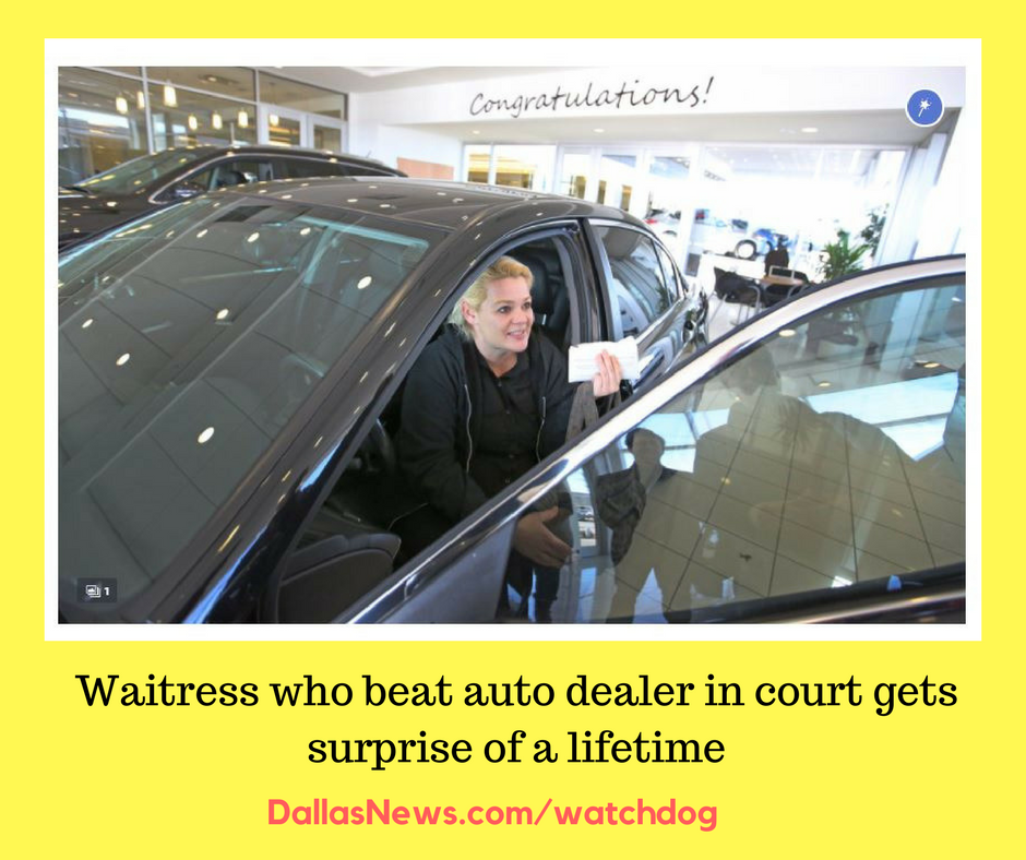 Thanks to readers, waitress who beat auto dealer in court