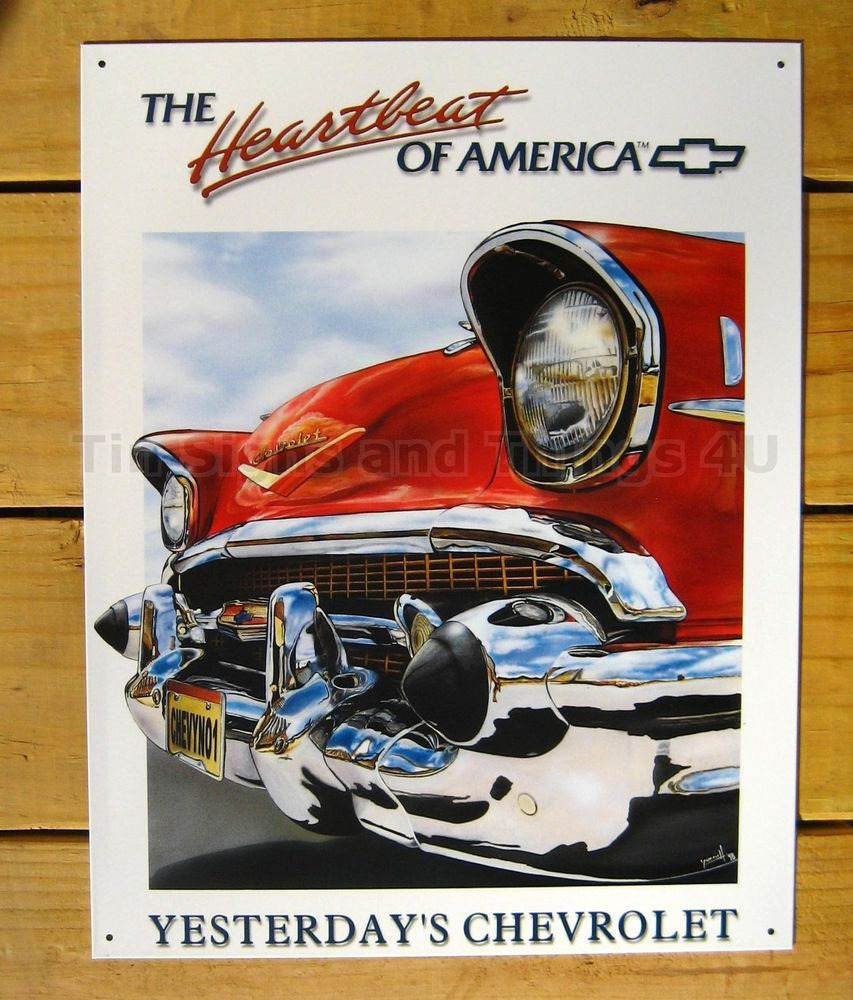 Red Antique Chevrolet TIN SIGN Vtg Metal Wall Decor Chevy