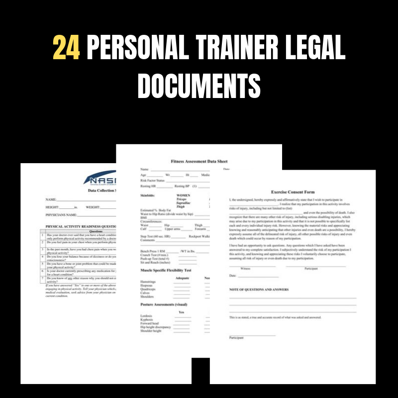 24 Editable Personal Trainer and Legal Documents