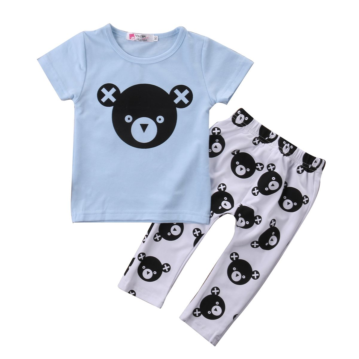 Click To Buy 2pcs Kids Clothes 2017 New Casual Short Sleeve Bear T Shirt Tops Pant Outfit Boys Clothing Set Chi Boy Outfits Bear Outfits Baby Boy Outfits