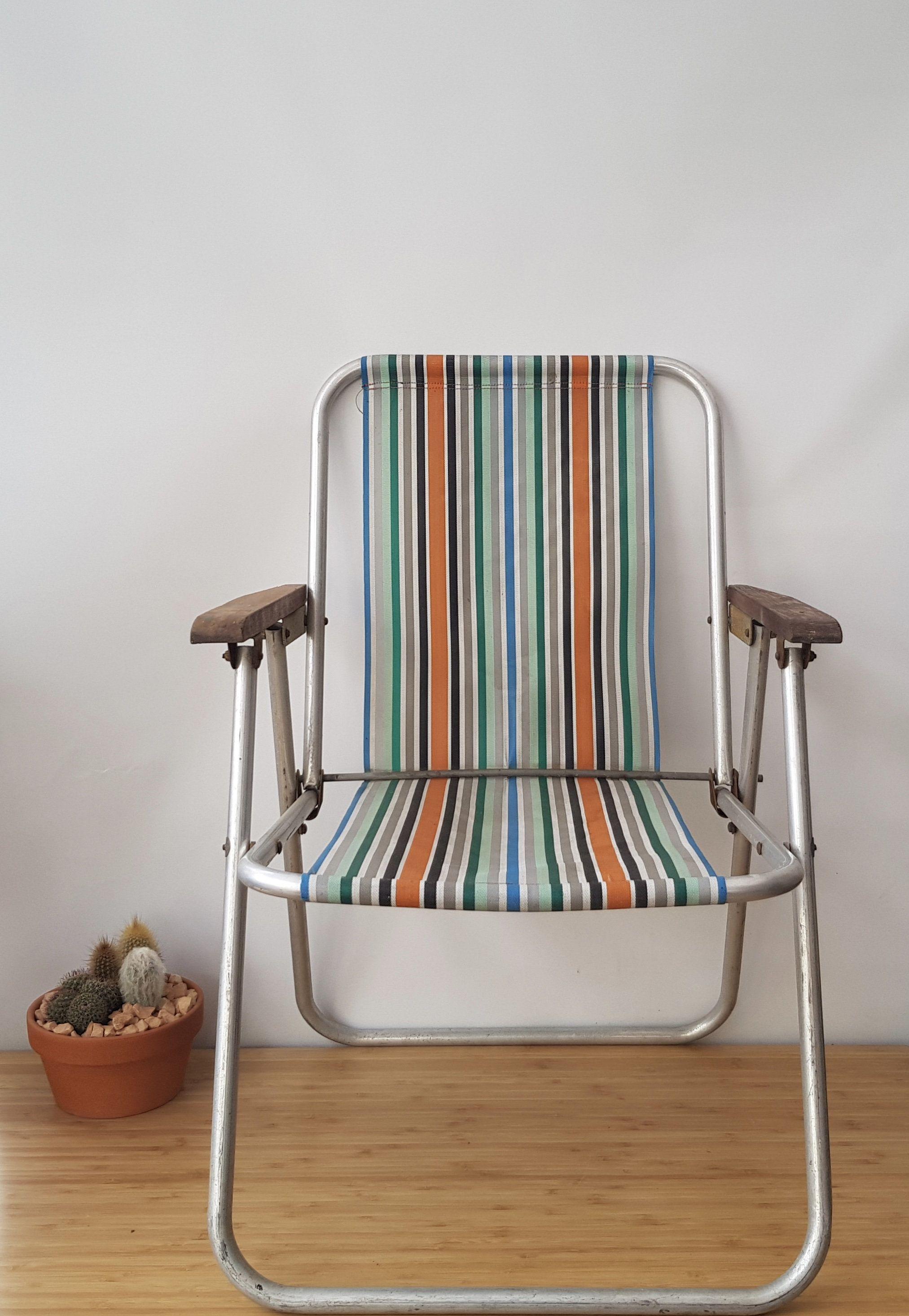 Vintage Folding Striped Deckchair Retro Boho Old Camping Chairs Old Deckchairs Old Garden Chairs Old Striped Chair Rustic Garden Chairs Striped Chair Rustic Chair Camping Chairs