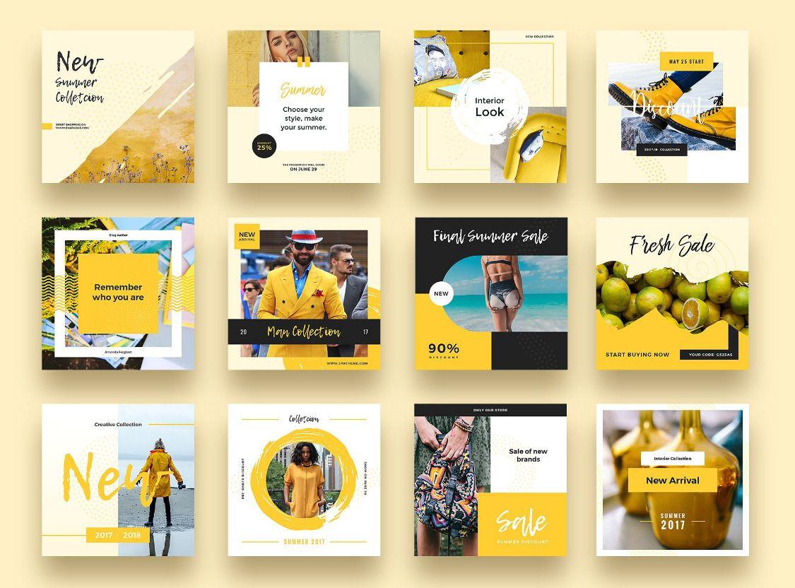 Yellow Autumn Social Media Designs Social Media Banner Instagram Template Social Media