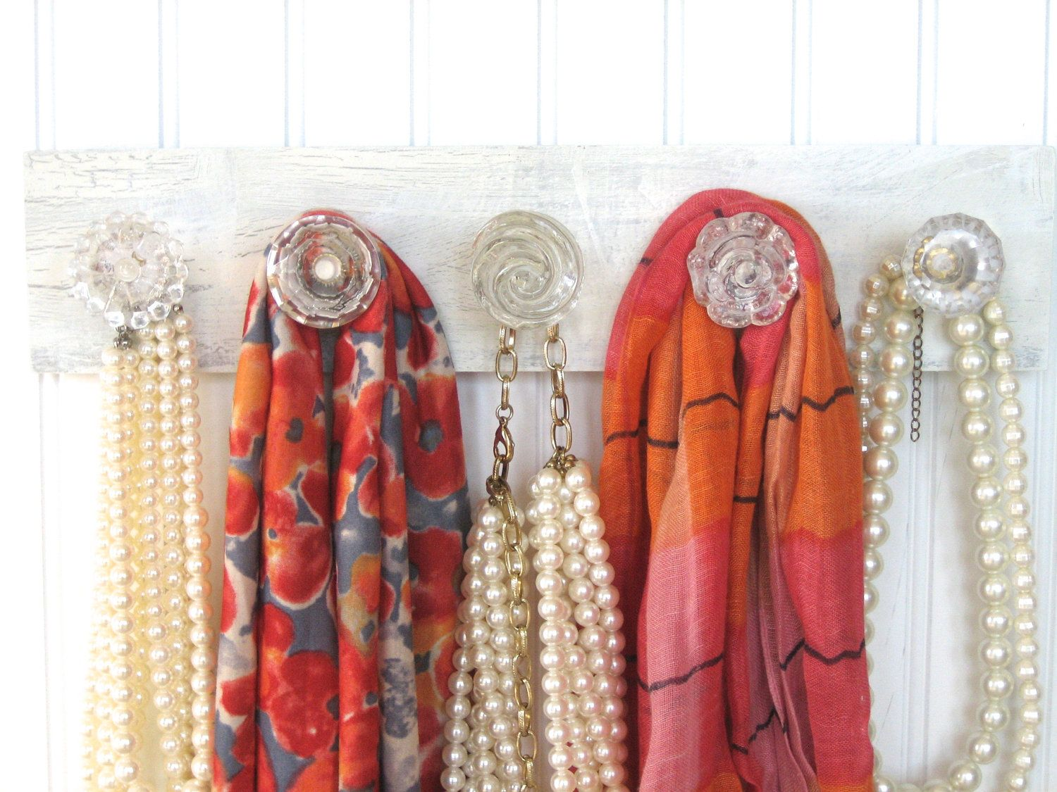 Scarf Rack Necklace Holder with Crystal Knobs 3800 via Etsy