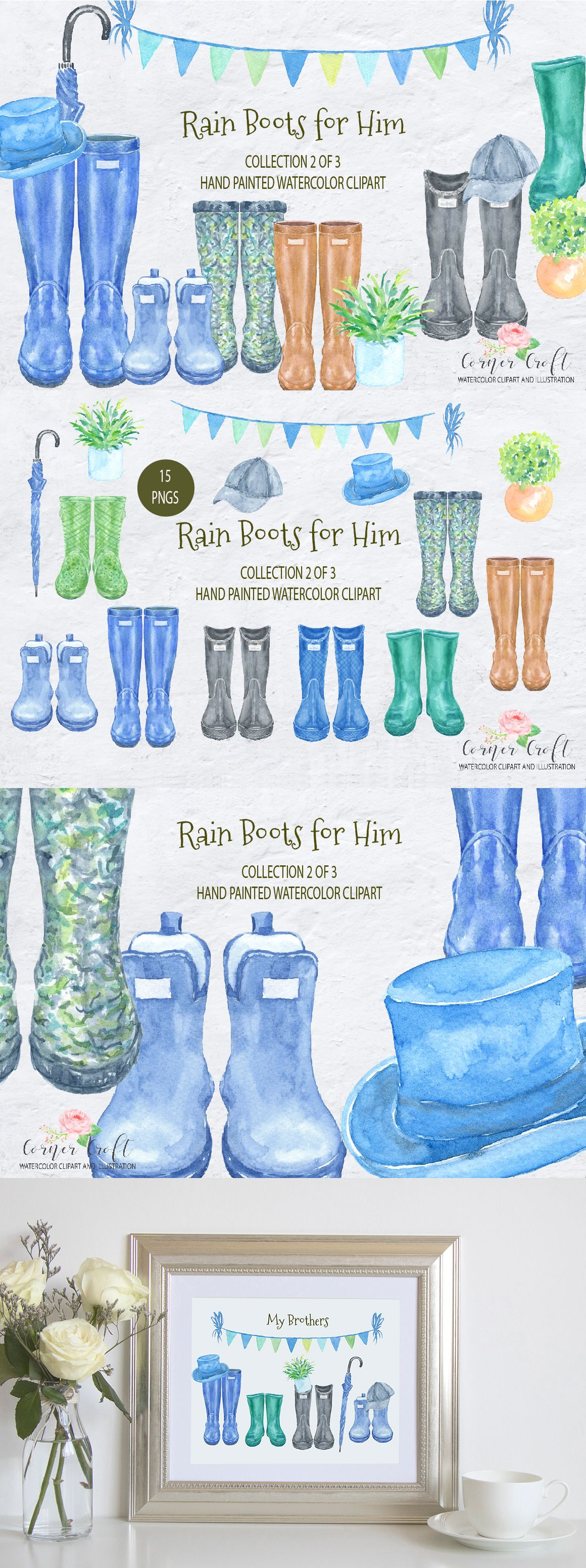Watercolor Rain Boots For Him Men S Wellies Watercolor