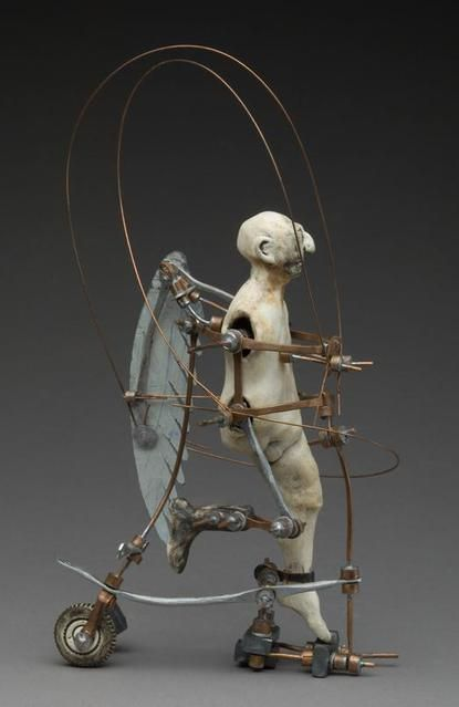 "Aggie Zed, ""Slave to Limit 1,"" ceramic, mixed metals, paint. 9.5""H x 6""W x 5""D"