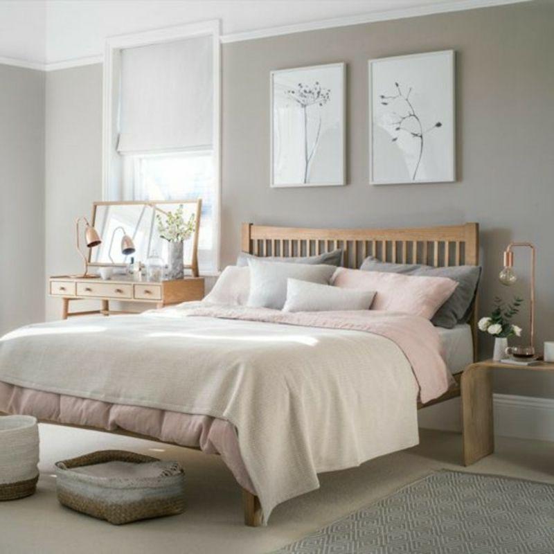 schlafzimmer farben ideen - weiß rosa grau #bedroomdecorbudget