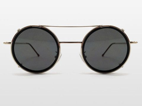 Sonic Clip Off Sunglasses by Spitfire - Black Lens with Silver Frame - Pixie Kitsune