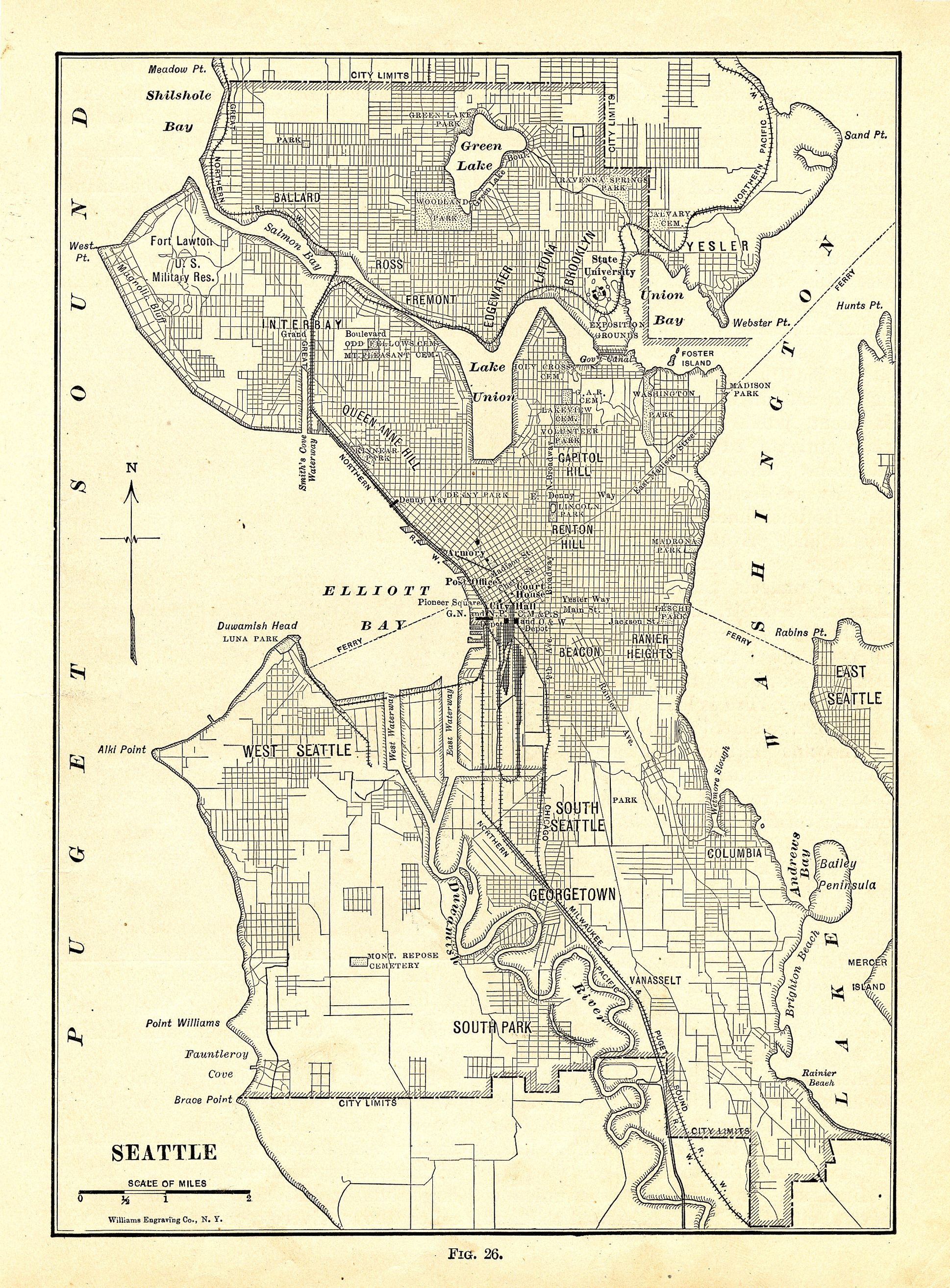 Map Of Seattle Description Map Of Seattle 1914 Jpg Seattle