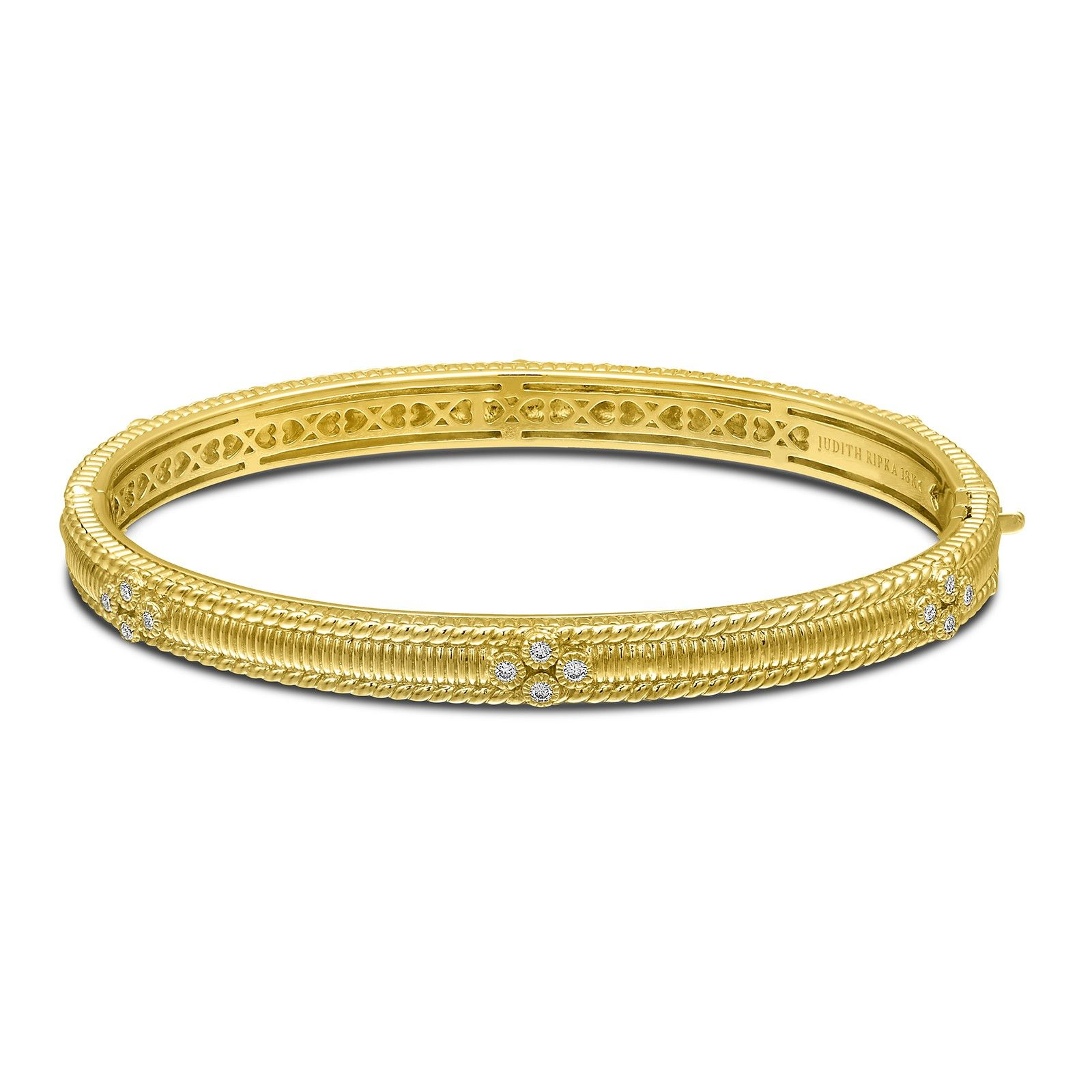 Judith Ripka 18KYG Berge Diamond Set Bangle Bracelet Judith Ripka
