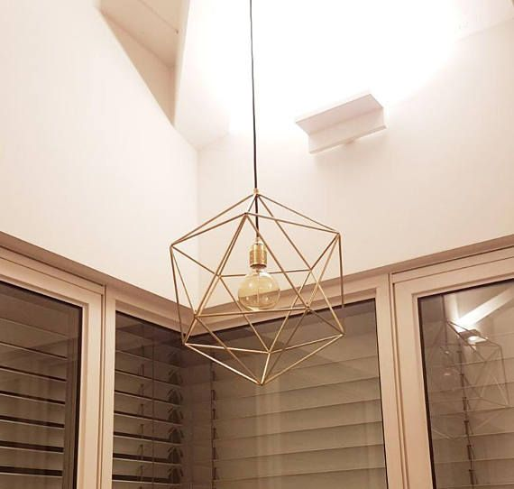 Large Entryway Chandelier Lighting Geometric Brass Pendant Cage