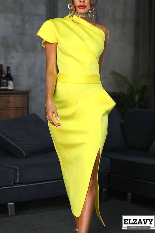 e847b4d03d0 Elegant Sloping Shoulder Pure Colour Waist Bodycon Dress - One Shoulder  Ruched Irregular Party Dress