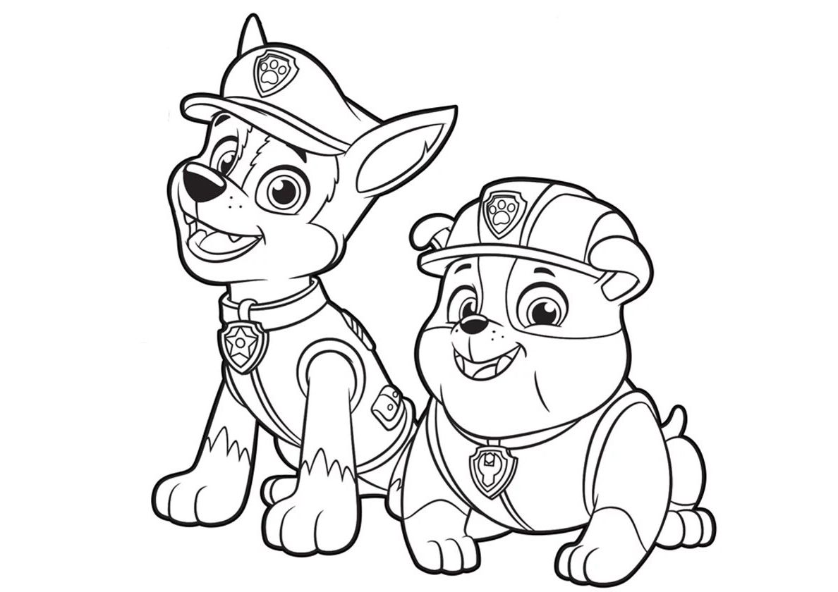 Chase and Rubble | Cartoon coloring pages, Paw patrol coloring