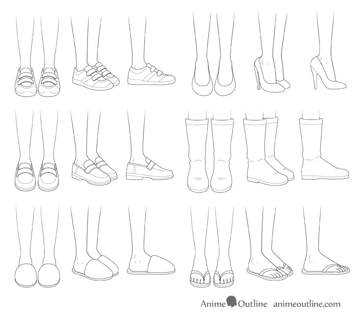 How to Draw Anime Shoes Step by Step Anime drawings