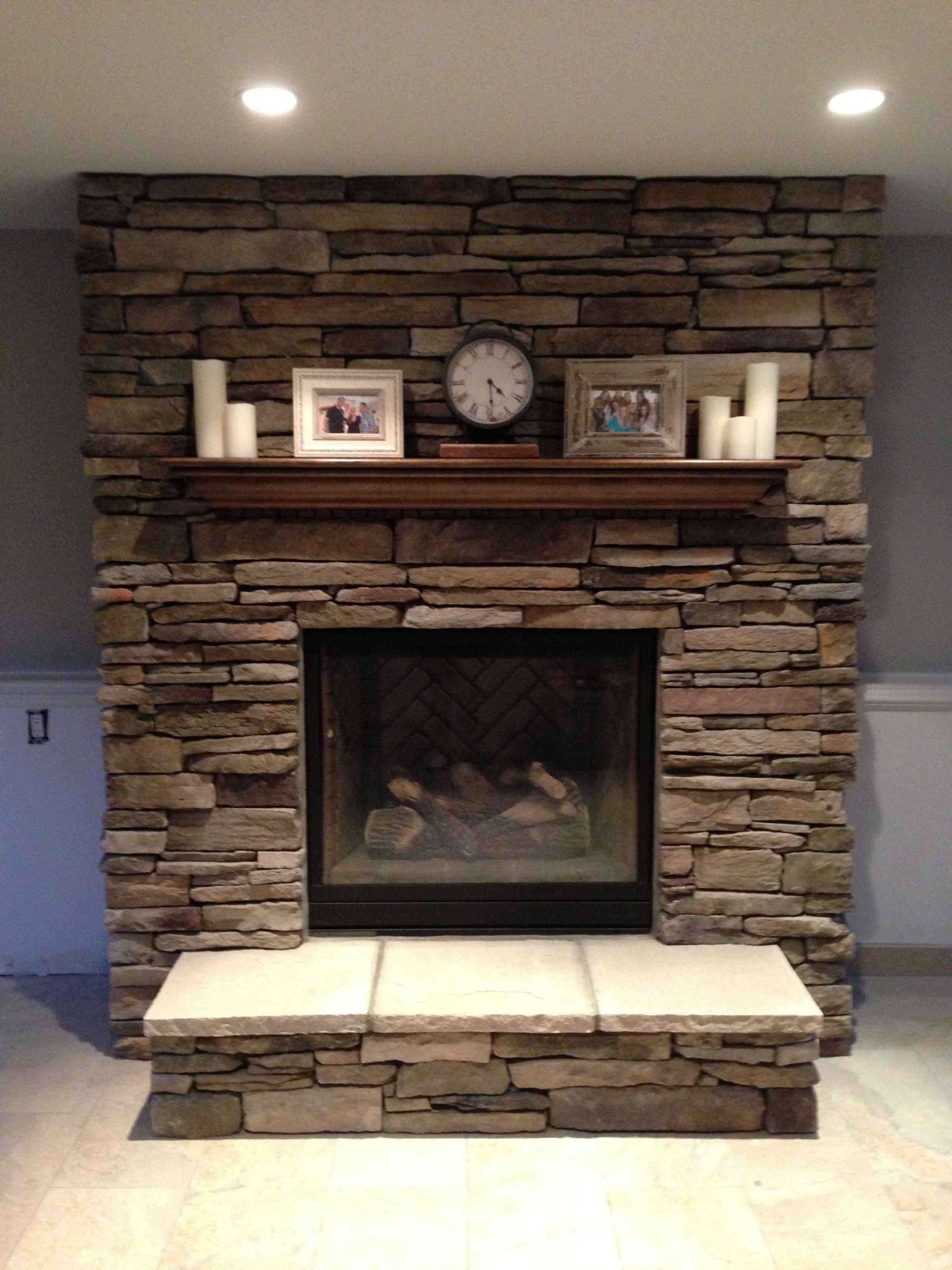 Our new brick fireplace decorated! #fireplace #mantel #brick ...