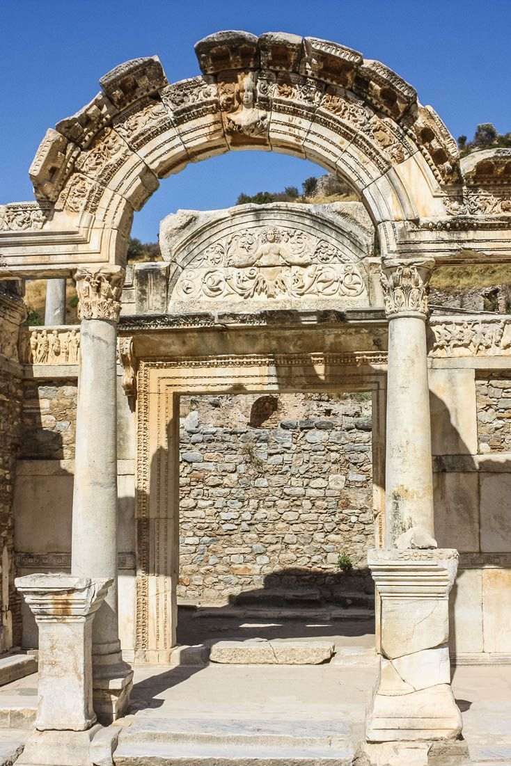 The Temple of Hadrian in Ephesus is one of the most well-preserved buildings of ancient Ephesus ruins in Turkey #travel #turkey #ephesus #ruins #ancientruins #romanruins #greekruins #hadrian
