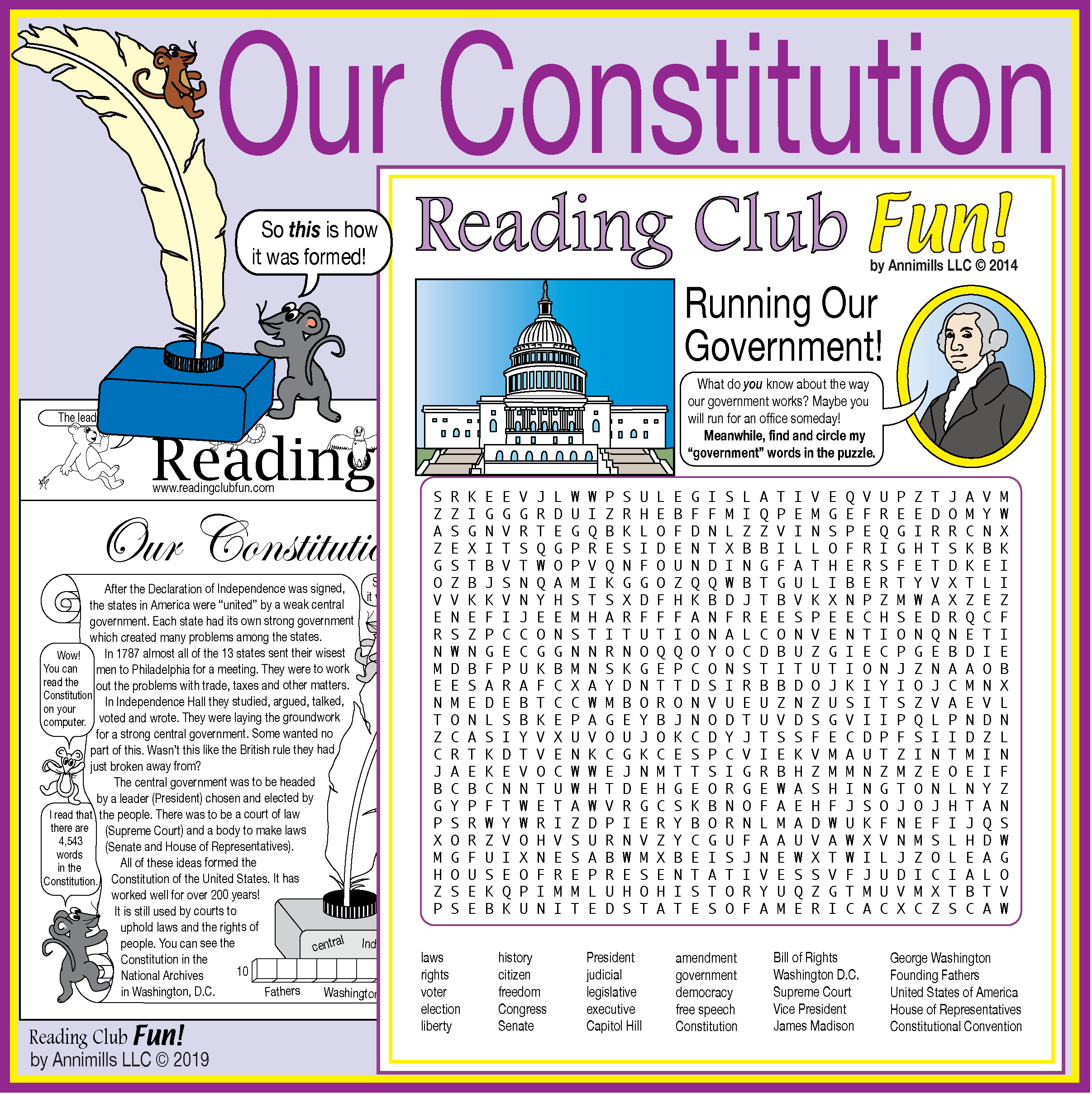 Constitution Day Two Page Activity Set And Government Word