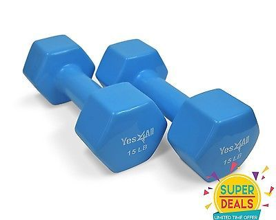 Yes4All Dumbbells PVC Hand Weights Dumbbell 15 lbs Pair Training - 4ARSE8D