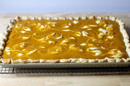 Cheesecake Marbled Pumpkin Slab Pie