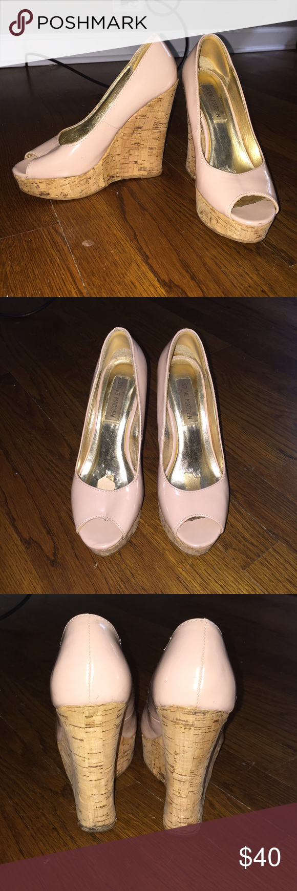 Steve Madden • Nude Patent Cork Wedges Steve Madden nude patent leather & cork wedges. Purchased at DSW circa 2011. Well loved in their time! I had foam inserts for the balls of my feet in them which peeled some of the lining up (see photo). Feel free to ask questions!! Steve Madden Shoes Wedges