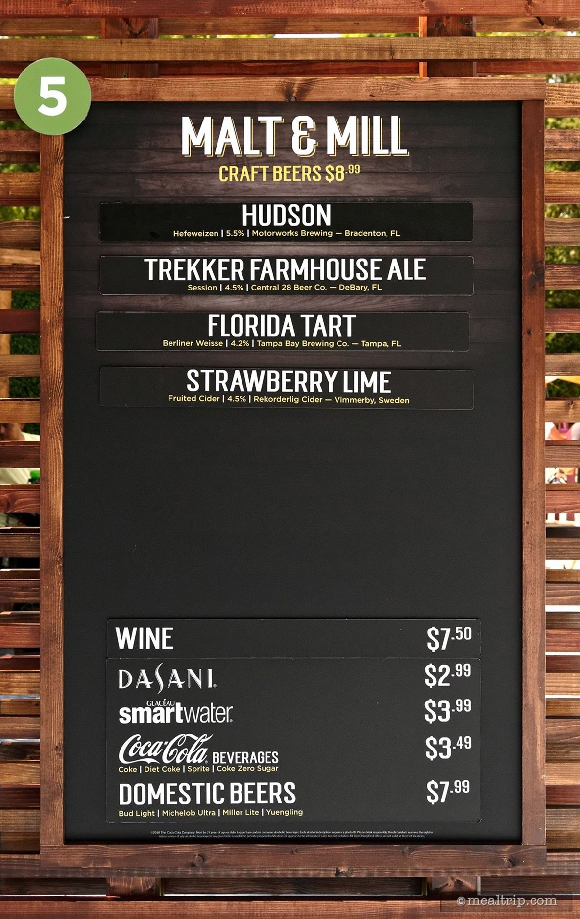 The Malt & Mill menu and price board for Bier Fest 2018 at
