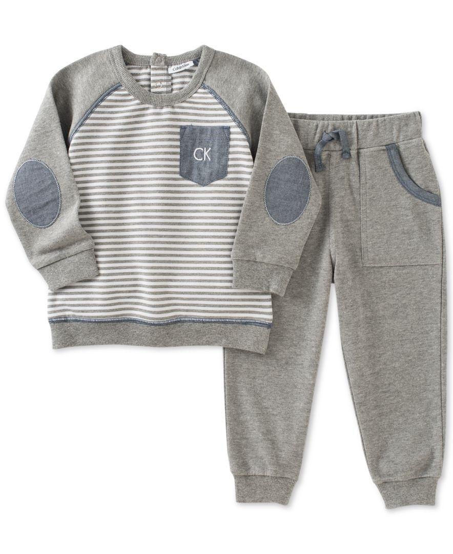 9053e631a Calvin Klein 2-Pc. Striped Sweatshirt   Jogger Pants Set