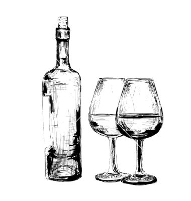 Bottle Of Wine And Two Glasses Vector Sketch By Alenakaz On
