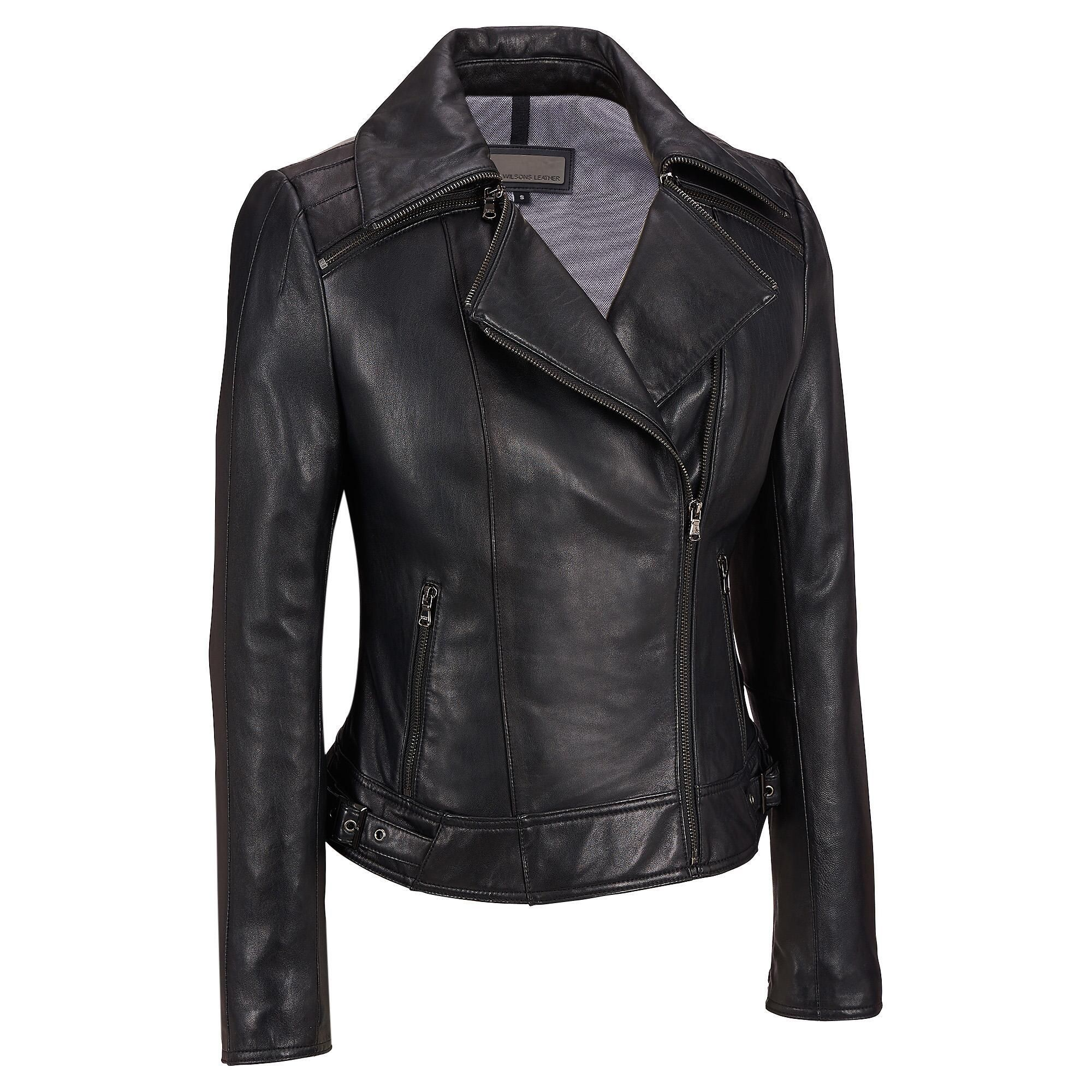 Plus Size Wilsons Leather Zipper Collar Leather Cycle