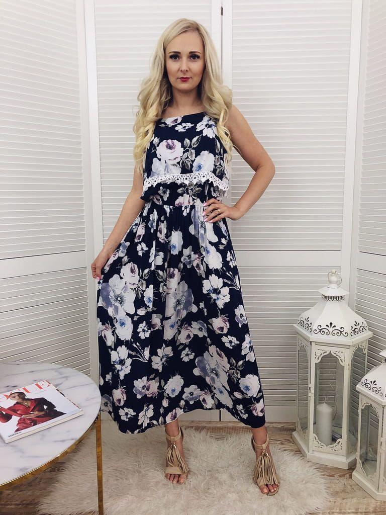 Sukienka Maxi W Kwiaty Z Falbanka Granatowa Maxi Dress Fashion Dresses