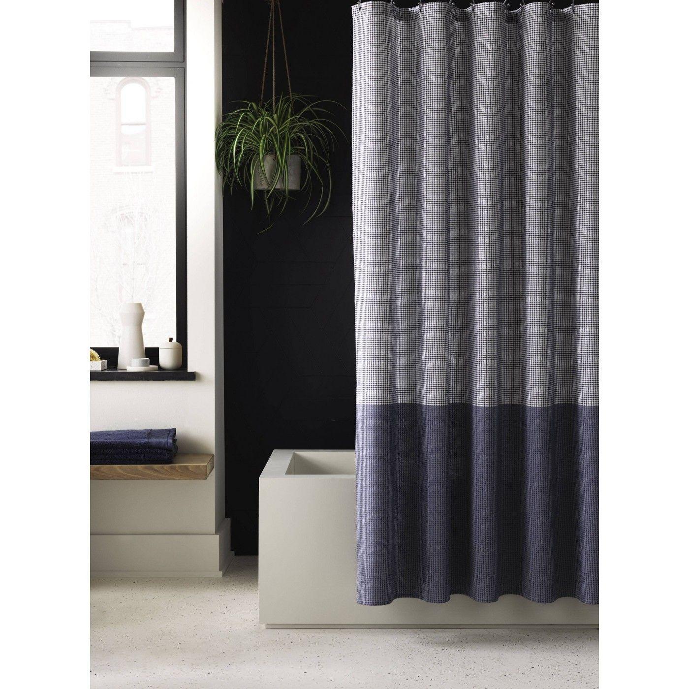 colorblock dot shower curtain blue