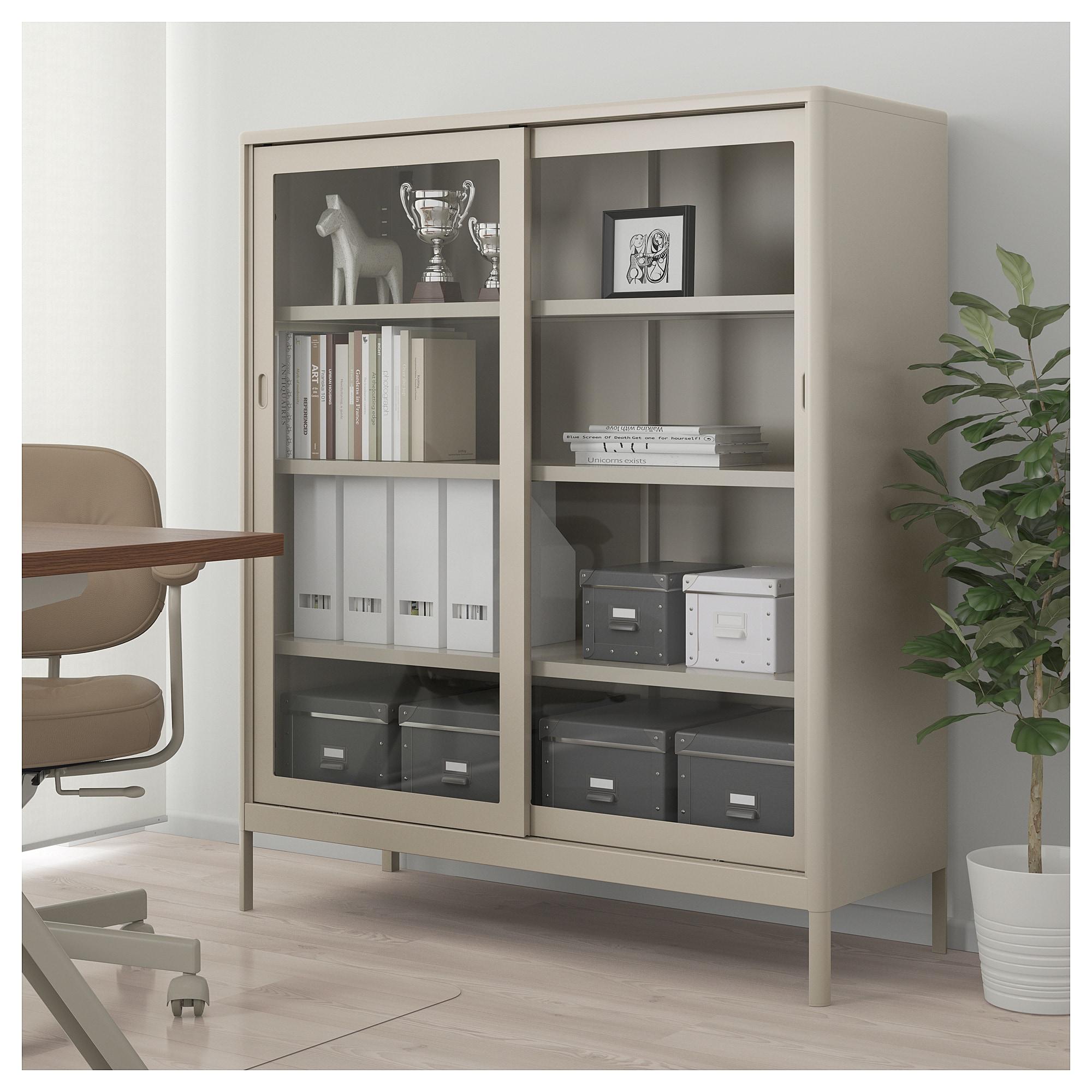 Ikea Idasen Beige Cabinet With Sliding Glass Doors Barnes