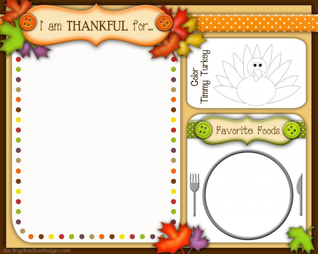 Free Kid S Thanksgiving Placemats