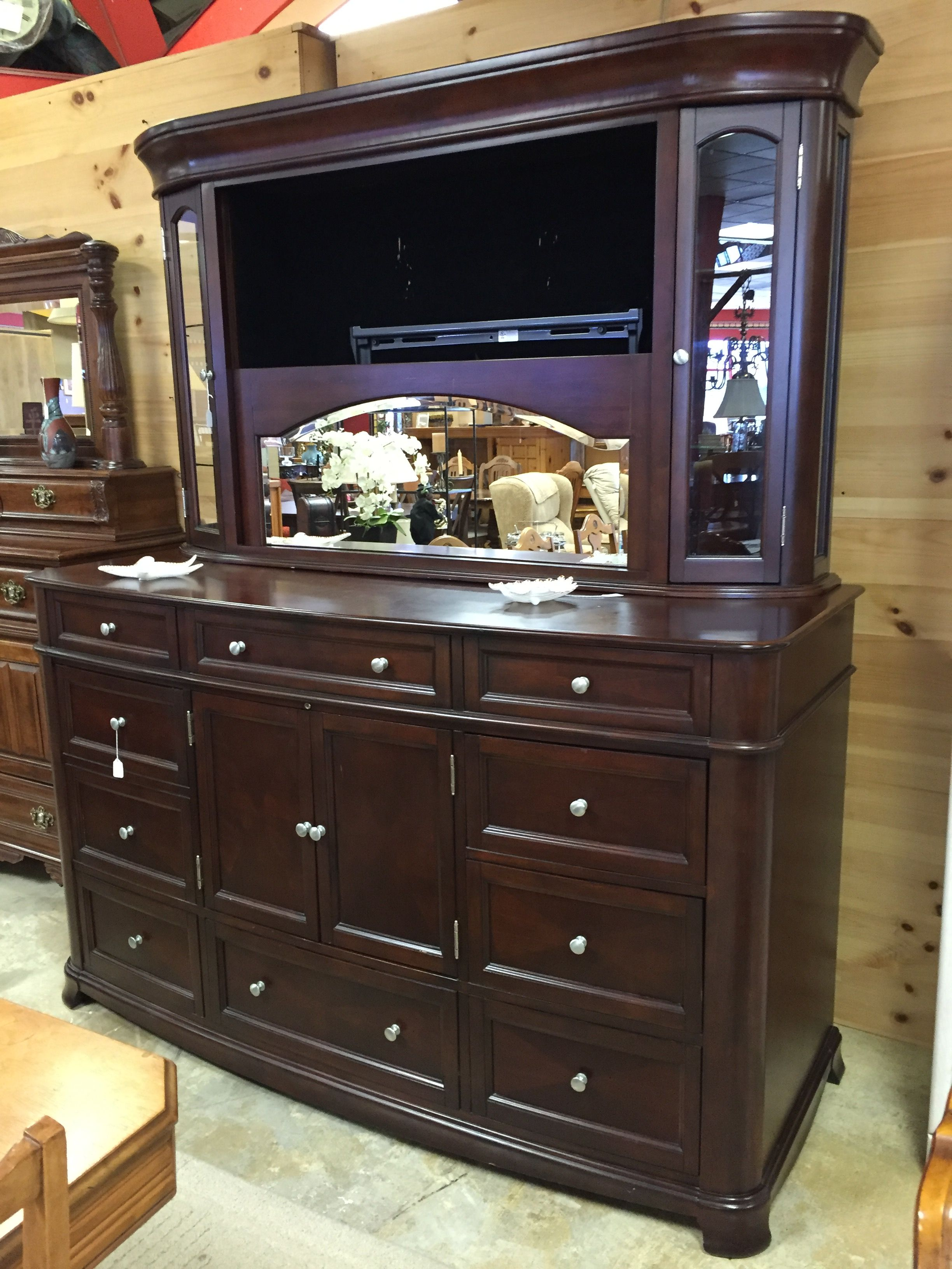 Beautiful Large Dresser With Hidden Entertainment Center Behind
