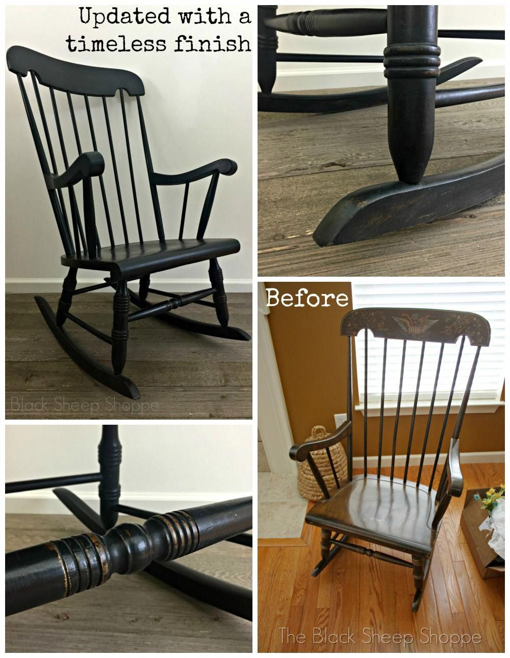 an outdated rocking chair gets a timeless new finish graphite and rh pinterest com