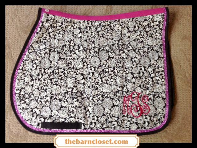 Black & White Floral Print with Hot Pink Bling Custom English Saddle Pad at thebarncloset.com