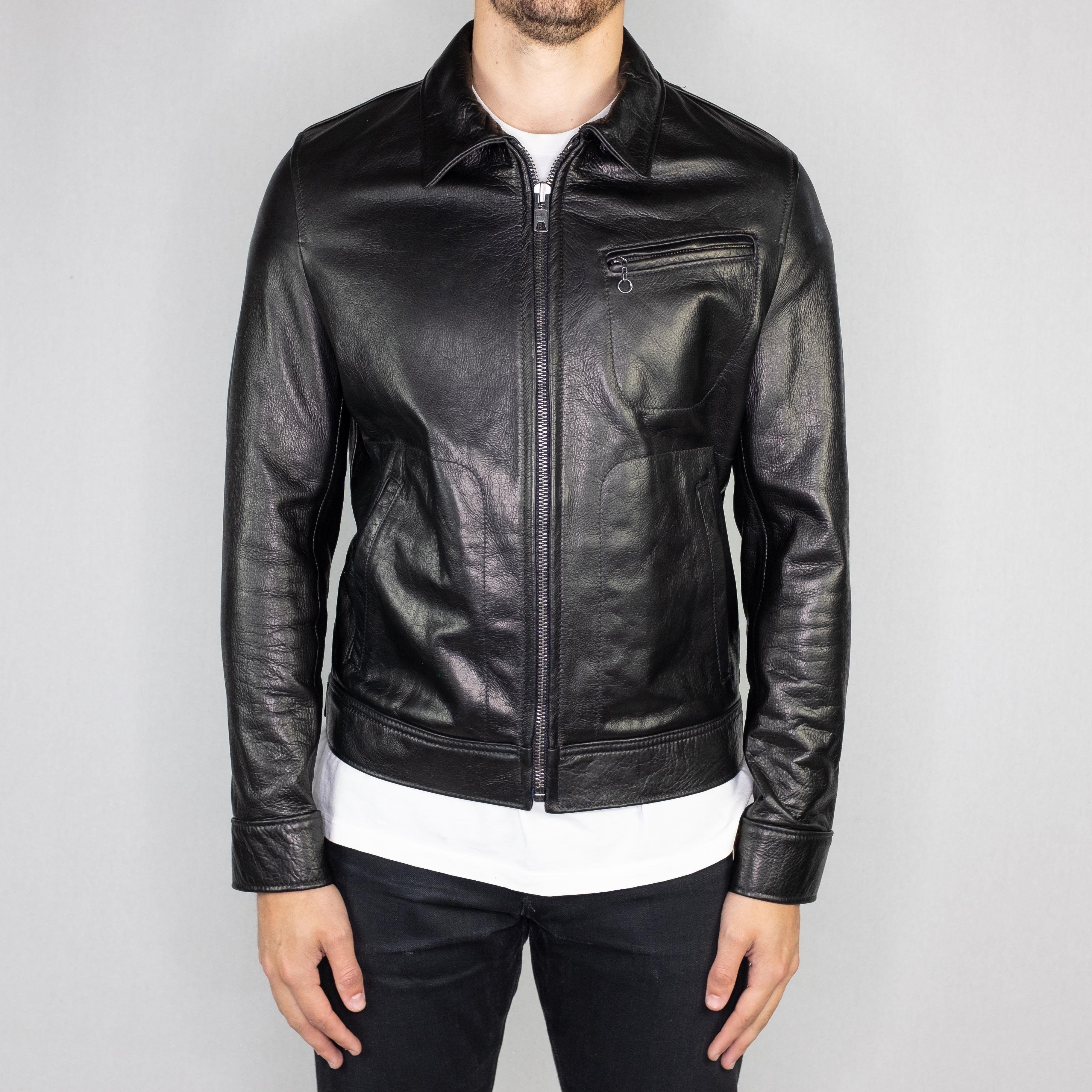 Schott Nyc 575 70 S Unlined Waxy Cowhide Leather Delivery Jacket Black Fashion Cowhide Leather Leather