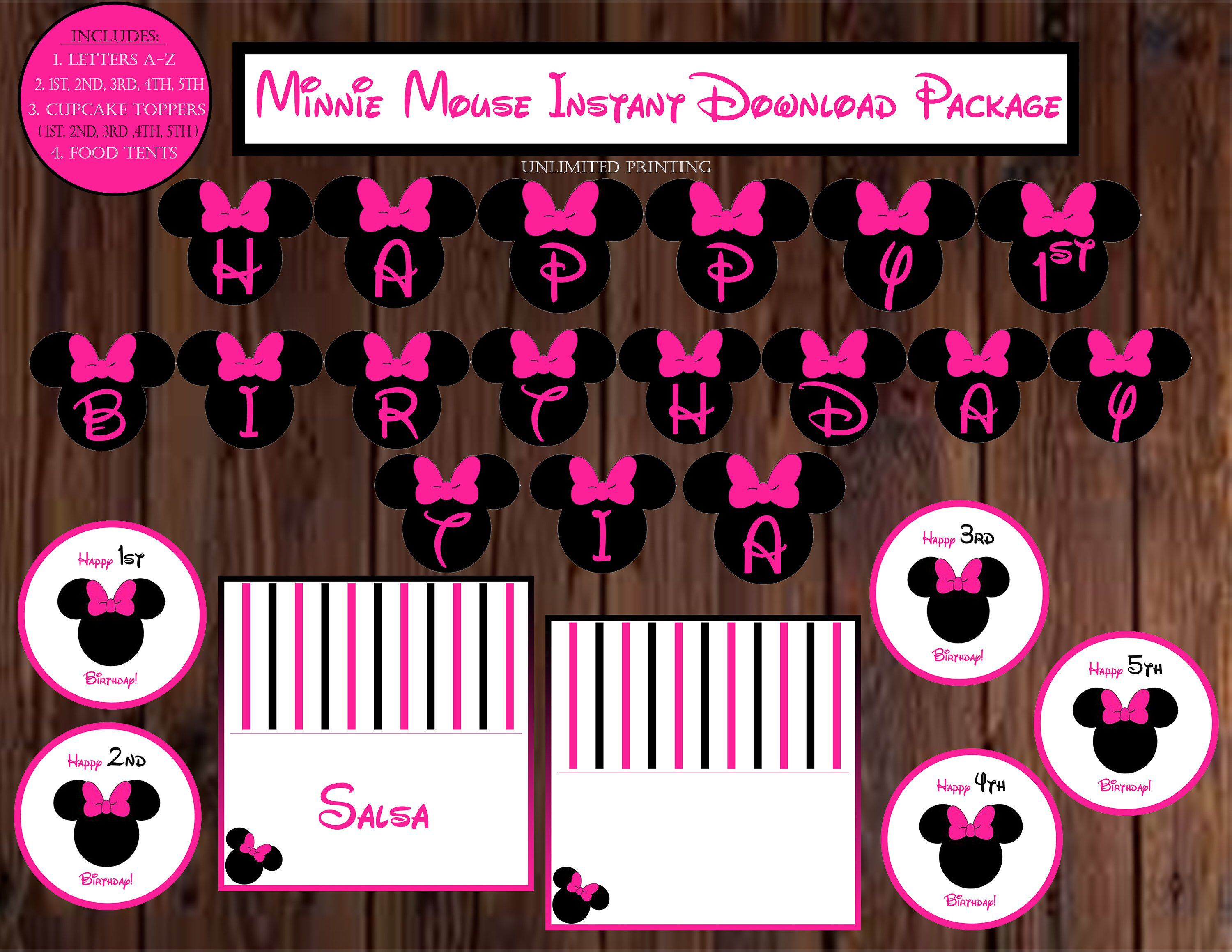 Minnie Mouse Cupcake Topper-Minnie mouse party 2nd Birthday Minnie Party