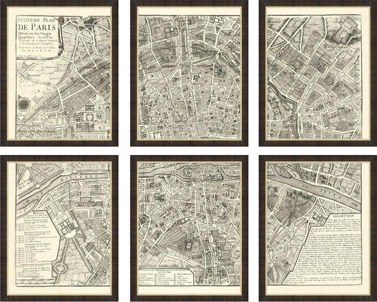 Six Smaller Framed Maps Bine To Form One Spectacular Paris In: Framed Map Of Paris At Slyspyder.com