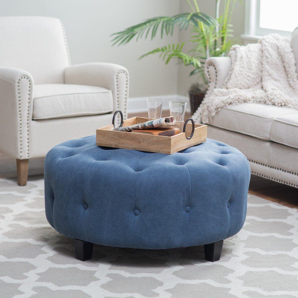 Belham Living Teagan Round Tufted Ottoman  The Perfectly Stunning Living Room Ottoman Decorating Design